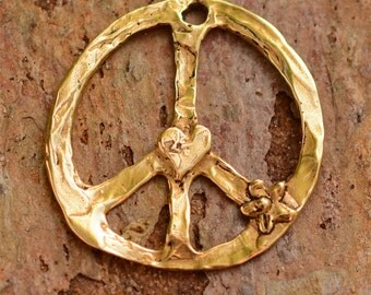 Rustic Gold Bronze Peace Pendant AD-259, Hippie Peace, Peace Love Jewelry