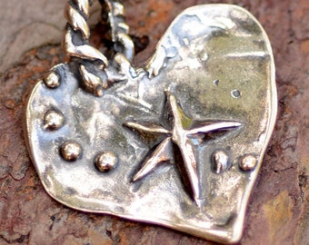 Heart Pendant in Sterling Silver inscribed Catch a Falling Star