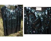 90's Sparkle Iridescent Sequin Black Sleeveless Top Shirt Blouse