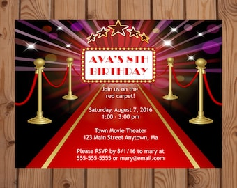 Hollywood Invitation - Movie Star Invitation - Red Carpet Invitation - Hollywood Party - Red Carpet Party - Movie Star Party - Digital