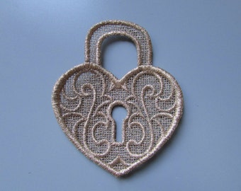 Embroidered Heart Lock Lace Applique