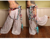 Goddess Harem Pants, Mata Hari Costume, belly dance, white lace cut out leg. exotic Turkish floorwork, tribal fusion, Gypsy dance costume
