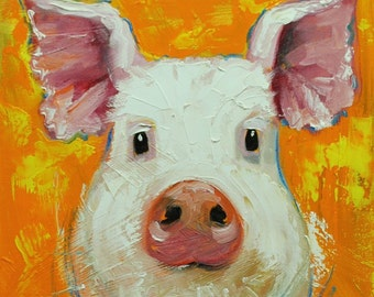 Pig painting 214 12x12 inch original oil painting by Roz