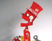 1960s Mr. Machine Ideal Vintage Robot Toys Red Plastic Silver Metal Key Wind-up Toys Retro Collectibles Walking Talking Man Cardboard Box