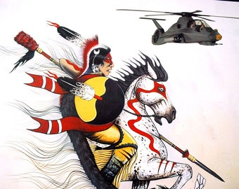 Comanche Artist Print, Tim Saupitty, Boeing RAH-66 Comanche Helicopter, Native American Indian Warrior, U.S. Army Poster, Military Poster