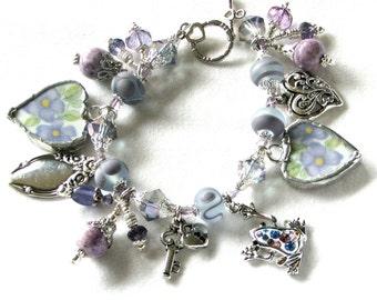 Broken China Bracelet  Charm Bracelet  Broken China Jewelry  Vintage Bracelet Lampwork Jewelry - Heart Bracelet