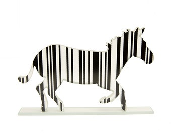 Barcode Zebra Glass Sculpture Custom Screen Print Colours