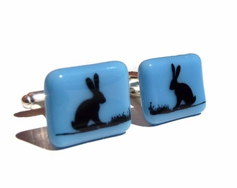 Hare Cuff Links Glass Enamel Print Custom Colours