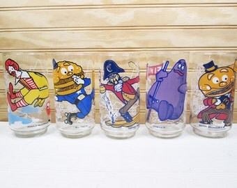 5 Vintage McDonald's McDonaldland Action Series Glasses Character Glass 1977 Set Lot