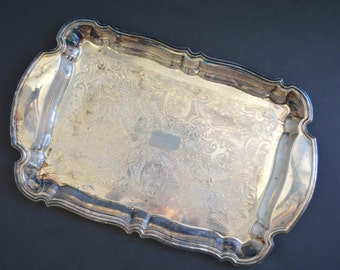 Vintage Oneida Serving Tray {Silver Plated Tray Scalloped Edges Serving Platter Silverplated Tray Ornate Engraved Hostess Gift}