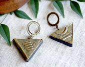 Ceramic Earrings, Geometric Earrings, Antique Brass, Triangle Earrings, Olive Green Earrings, Matte Black, Tribal Style, Boho Jewelry