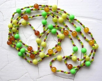 Vintage Beaded Necklace Glass Acrylic Boho Hippie Chic Colorful Lime Yellow Amber Bead Necklace Handmade Long