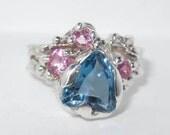 SALE- Blue Topaz and Pink Sapphire Ring OOAK USA Made Hand Cut Treasurings Jewelry Jerry Burkhart