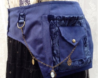 Beautiful blue utility belt - steampunk pocket belt - plus size womens utility belt - fancy pocket belt - fabric utlity belt - Extra Large