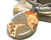 Large stone pendant, African jasper pendant, large stone necklace, sterling silver, gray suede leather, giraffe, cheetah, African,