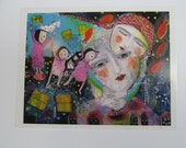 Mini print  from mixed media modern folk art painting ethereal dream like protected by love