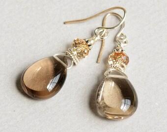 Fit for a Queen Earrings - Smoky Topaz Earrings - Topaz and Gold Earrings - Topaz and Silver Earrings - Sterling Silver Earrings
