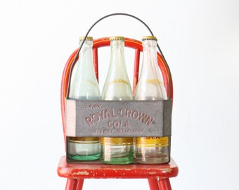 Vintage Royal Crown Cola Carrier, Bottle Tote, with 5 bottles