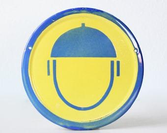 Vintage Safety Sign, Wear your Helmet, Porcelain Enamel