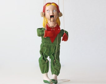 Vintage Marionette Doll, Red and Green Puppet, Disney