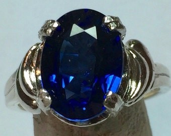 Blue sapphire and Silver ring