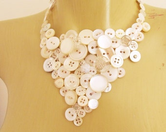 White button necklace on rose gold wire - finished to your measurement