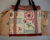 Deluxe Knitting/Crochet Tote Bag/Project Bag/Two Pocket Yarn Organizer/Handmade Tapestry Knitting Bag- SWEET PEA SAMPLER