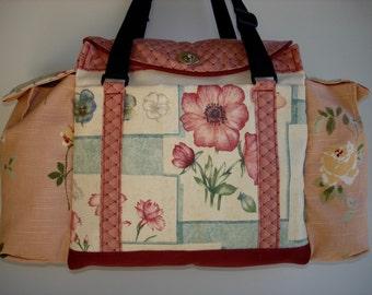 Deluxe Knitting/Crochet Tote Bag/Project Bag/Two Pocket Yarn Organizer/Handmade Tapestry Knitting Bag- SWEET PEA SAMPLER