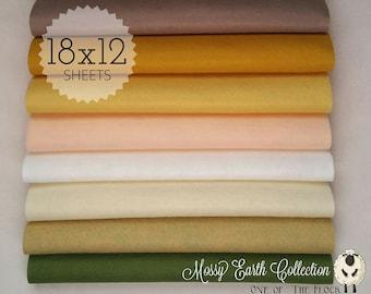 Mossy Earth Felt Collection, Wool Blend Felt, Wool Felt Sheets, Wool Felt Fabric, Felt Fabric Bundles, Wool Felt Bundles, Felt Collections