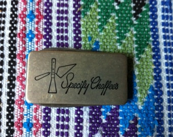 Vintage Money clip advertising item with two blades Specify Chaffee's
