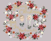 Custom Christmas Card - Custom Christmas Card Portrait - Custom Family Portrait - Custom Illustrated Portraits - Poinsettia Christmas Card