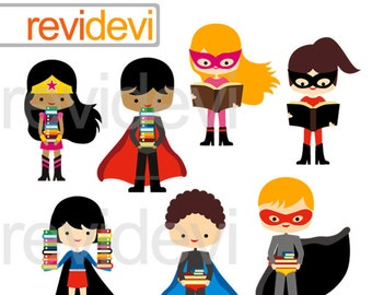 Superhero clipart/ superhero kids holding books/ reading and books clipart/ commercial use digital clipart