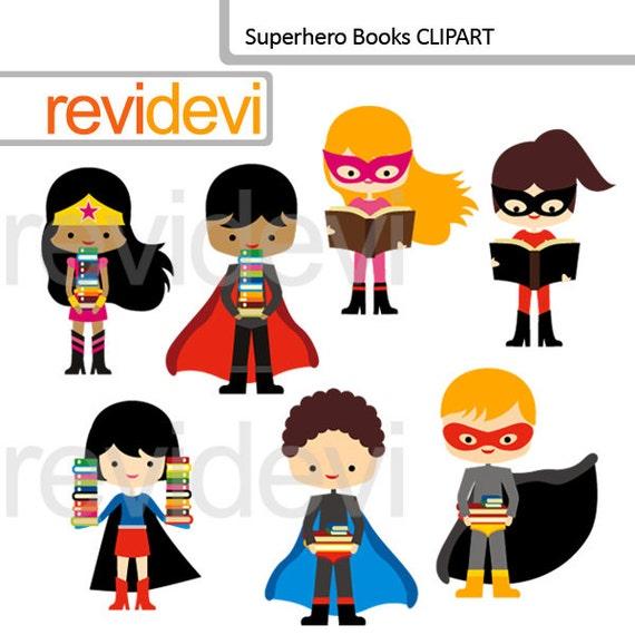Superhero Clipart/ Superhero Kids Holding Books/ Reading And