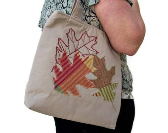 Fall Tote Purse , Textile Art , Autumn Oak Leaves , Large Purse , Over the Shoulder Bag , Travel Bag