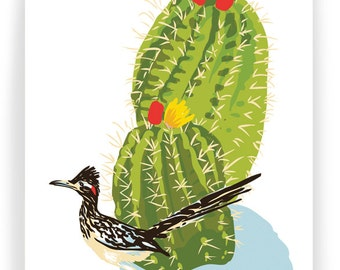 Cactus and Roadrunner, Boxed Set of 8 Greeting Cards