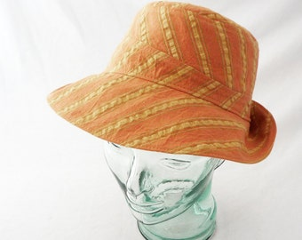 Womens Sunhat in Dusty Apricot and Green Striped Seersucker Cotton - Womens Hats, Summer Hat, Cotton Sunhat, Summer Style, Travel Hat