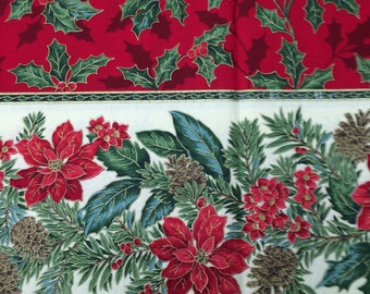 Christmas holly poinsettia fabric double border - 2 yards x 57 inches - VIP Cranston
