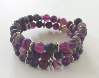 Purple agate bead bracelet memory wire silver beads
