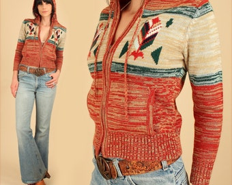 ViNtAgE 70's Space Dyed Hooded Cropped Cardigan Sweater  // Tribal Feather Southwestern // HiPPiE BoHo S