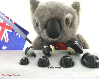 12 Koala Noses With Safety Washers Size 17mm or 22mm  or 26mm Mix Sizes For Koala Teddy Bears and Fantasy Characters (KN-1 )