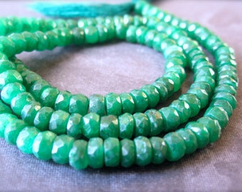 Emerald Rondelles - faceted precious gemstones - 6 1/4 inch strand - 4mm X 3mm