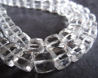 4 inches Faceted Cubes of Rock Crystal Quartz - Large Size Beads - 7mm