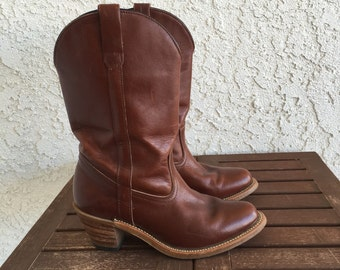 Vintage Main Chocolate Brown western boots 7