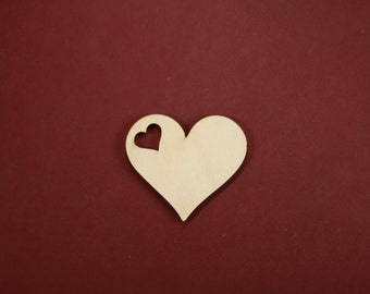 Classic Heart Gift Tag Shape Unfinished Wood Laser Cut Shapes Crafts