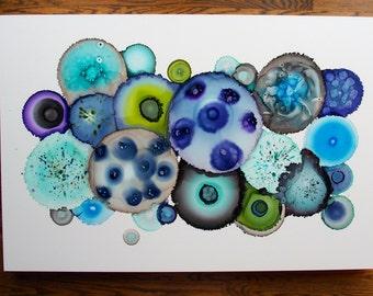 Poured Resin Original Painting- Mid Century Modern Art  - Big Geode