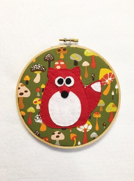 Fabric Wall Art, Embroidery hoop Art, Fabric Wall Art, Andy the Fox - Mushroom Mayhem, Nursery Decoration, Kids Gift under 20