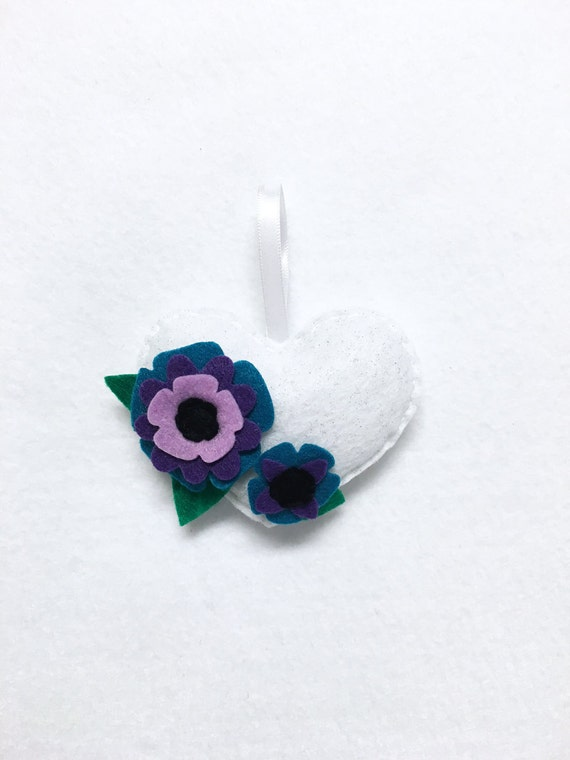 Heart Ornament, Flower Ornament, Christmas Ornament, Peacock Petals, Anniversary Gift, Wedding Decoration, Nature Lovers