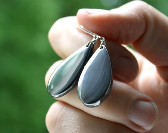 Hematite Jewelry . Healing Stone for Anxiety . Grey Gemstone Earrings . Silver Teardrop Earrings Leverback - Ferric Collection NEW