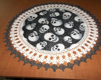 Crochet Halloween Doily Skulls Silver Metallic Sparkles Table Topper Decoration Fabric Center Crocheted Edging 20 inches Gift