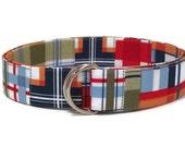 Madras Plaid Belt Men's Plaid D-ring Belt- Preppy Men's Belt- Fabric Belt- Blue Green Orange Red White Belt